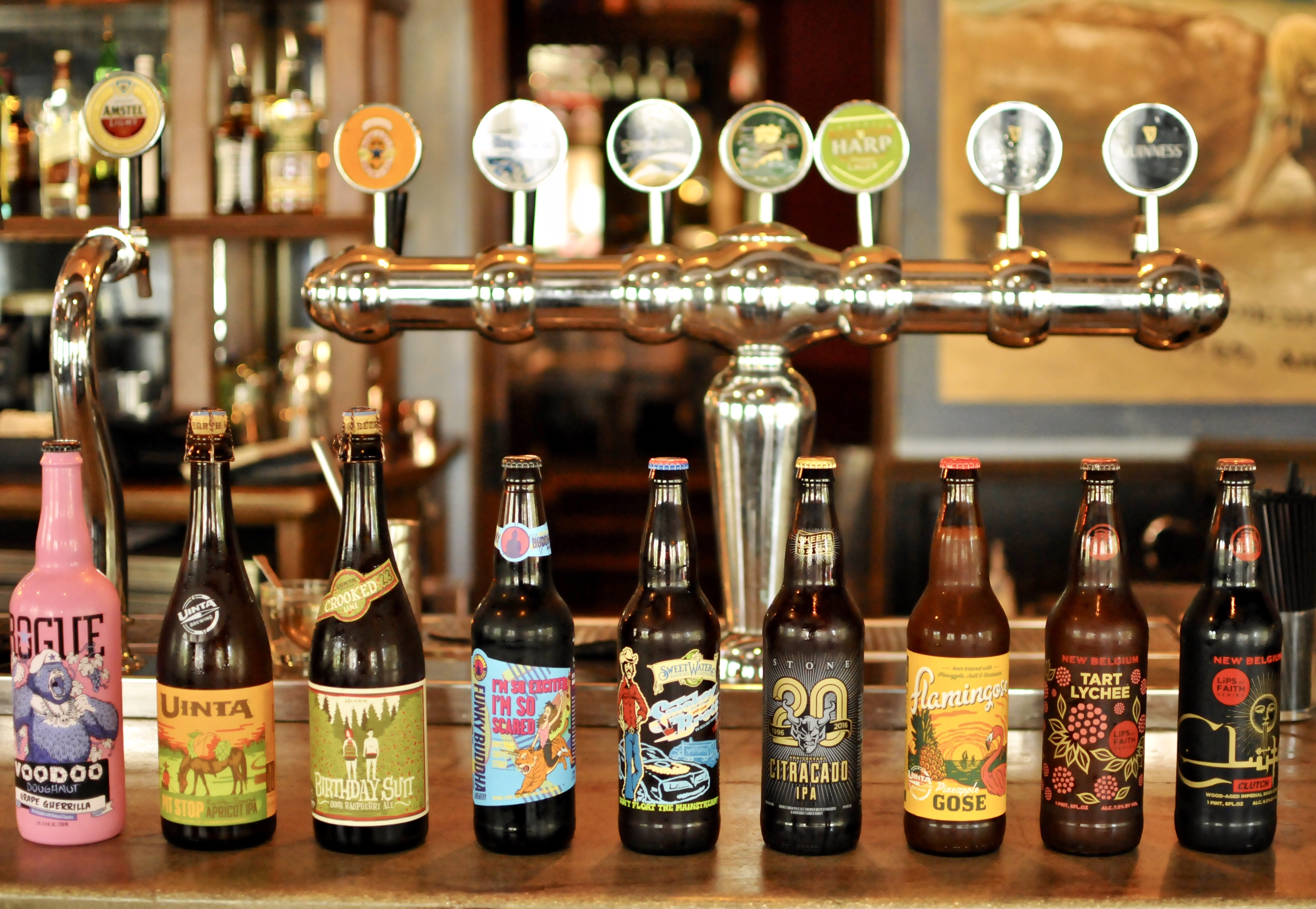 craft beer bottles lined up on a bar