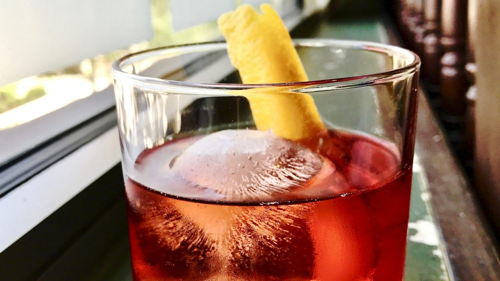 close up of a negroni cocktail