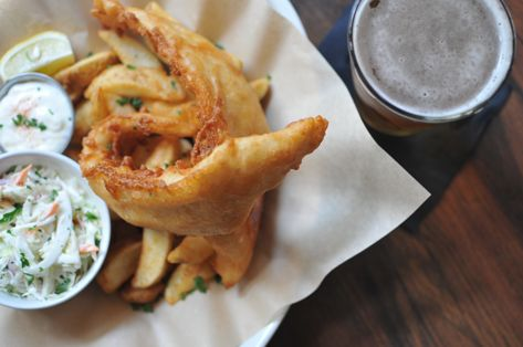 fish and chips with beer