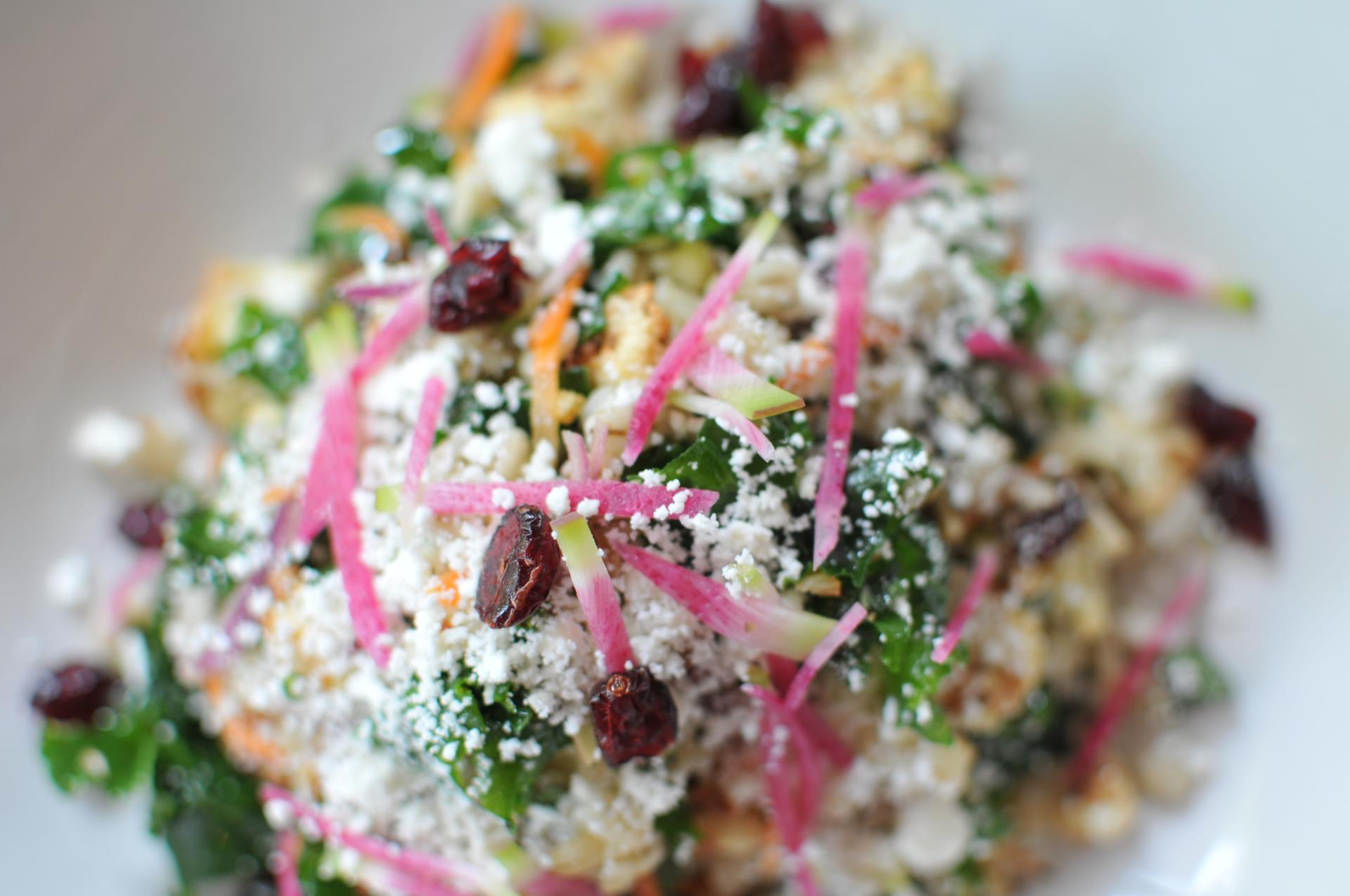 kale and barley salad close up