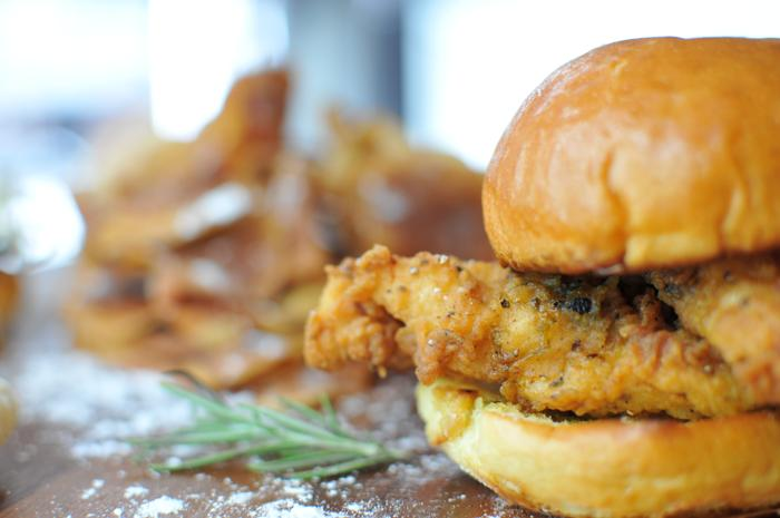 small fried chicken sandwhich