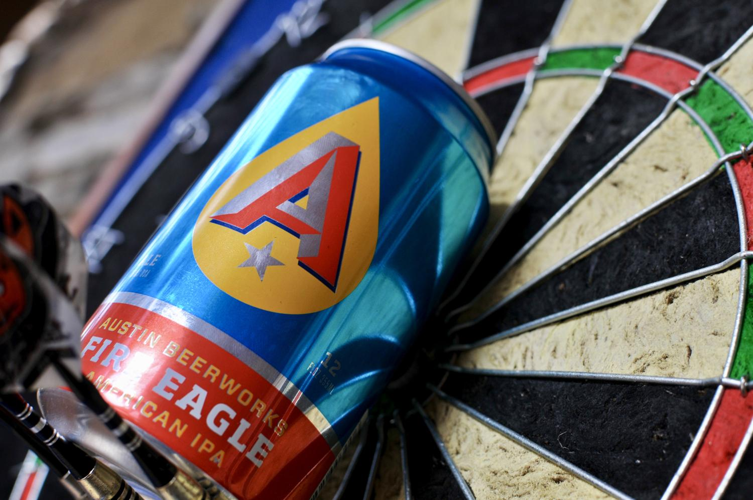 austin beerworks can on dart board
