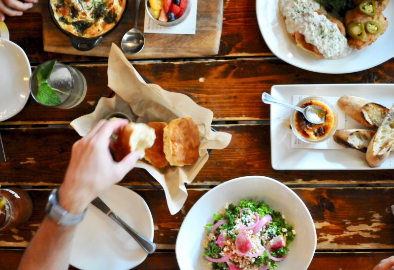 brunch food and drink on table